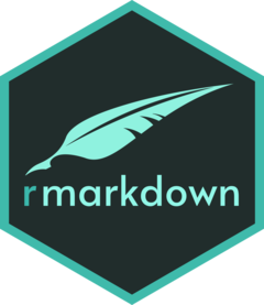 The new rmarkdown hex sticker design with a green quill, by Allison Horst